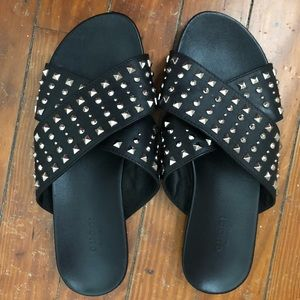 Gucci Black Silver Studded Slippers